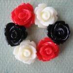 6PCS - Mini Rose Flower Cabochons -..