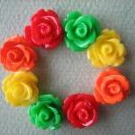 8PCS - Mini Rose Flower Cabochons -..