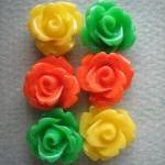 6PCS - Mini Rose Flower Cabochons -..