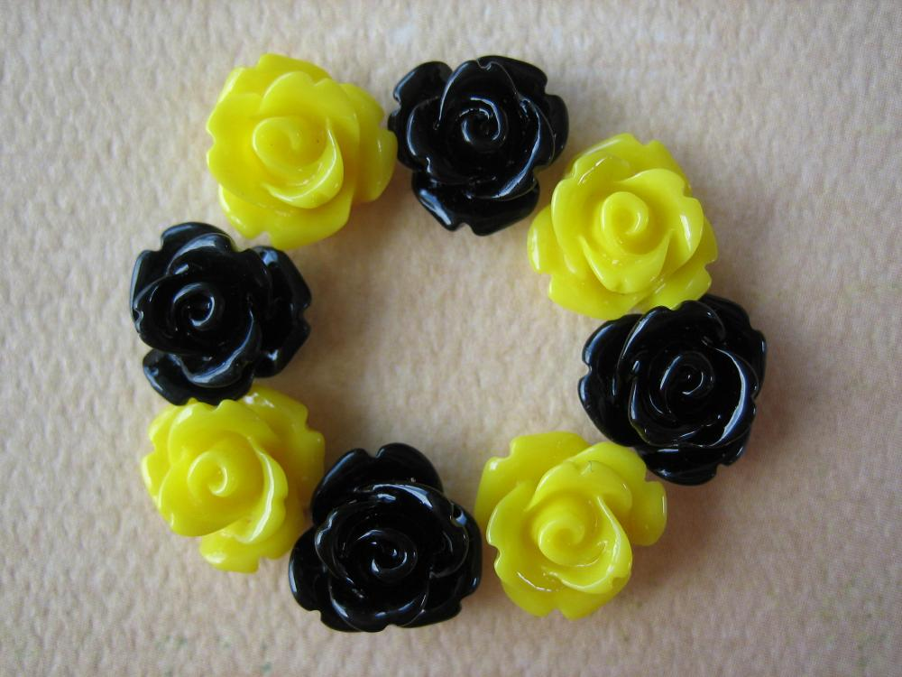 8PCS - Mini Rose Flower Cabochons - 10mm - Resin - Bumblebee - Cabochons by ZARDENIA