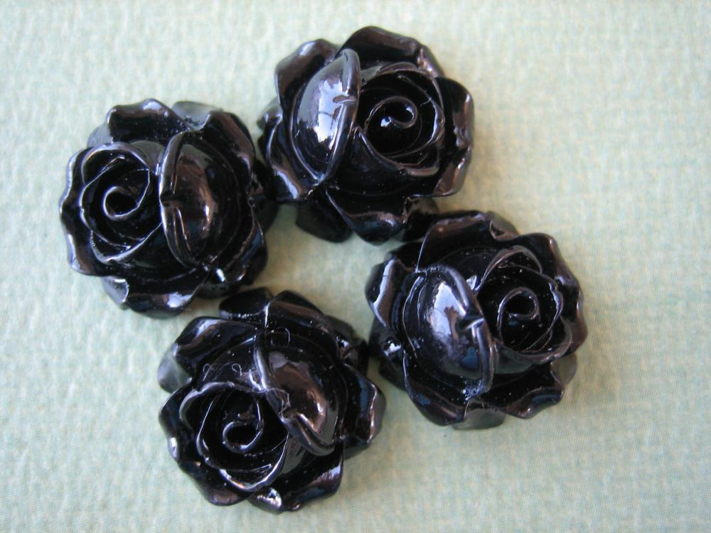 4PCS - Cabbage Rose Flower Cabochons - 15mm - Resin - Black - Findings by ZARDENIA