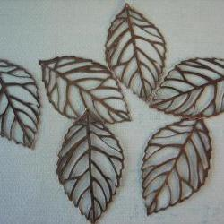 10PCS - Antique Bronze Filigree Leaf Charms - 54x31mm - Nickel Free - Findings by ZARDENIA
