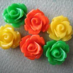 6PCS - Mini Rose Flower Cabochons - 10mm - Resin - Yellow, Green and Orange - Cabochons by ZARDENIA