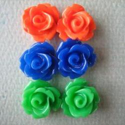 6PCS - Mini Rose Flower Cabochons - 10mm - Resin - Blue, Green and Orange - Cabochons by ZARDENIA